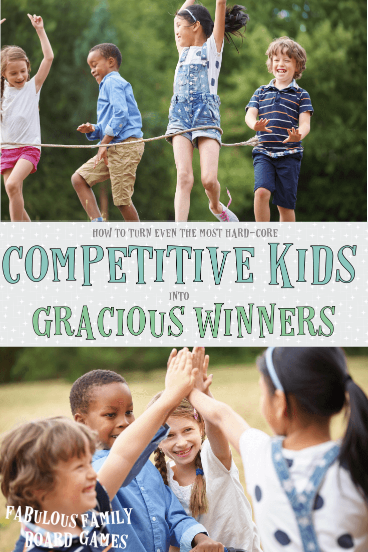 One of my two boys is one of the most competitive kids I've met. He wants to be best at ALL THE THINGS. I've found that our family board games are a terrific way to teach him the boundaries of healthy competition and family game nights also give him an opportunity to practice the art of being a competitive kid who is also a gracious winner. #competitivekid #healthycompetition #graciouswinner #nosorelosers www.fabulousfamilyboardgames.com