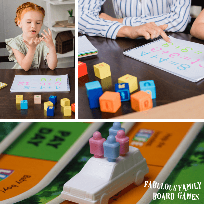 Math board games make teaching addition, subtraction, multiplication, and division fun! For preschoolers, games can introduce the concepts of money, fractions, geometry, time, patterns, number sense, and probability. Later, board games work in the classroom from kindergarten or elementary school through middle school! Finally, math board games are a creative way to reinforce math facts for home school or gameschool families. #gameschool #mathgames #boardgames #www.fabulousfamilyboardgames.com