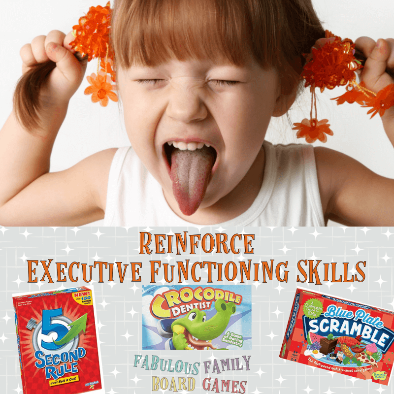 A little girl sticking her tongue out and pulling on her pigtails - frustrated by lack of executive functioning skills. Photos of several games that help nurture executive functioning.